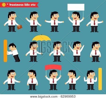 Adult at work emotional poses and situations set