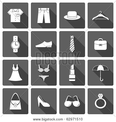 Clothes accessories shoes icons set