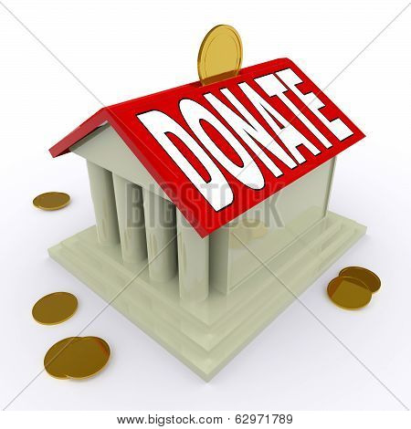 Donate On House Or Money Box Means Give For Home