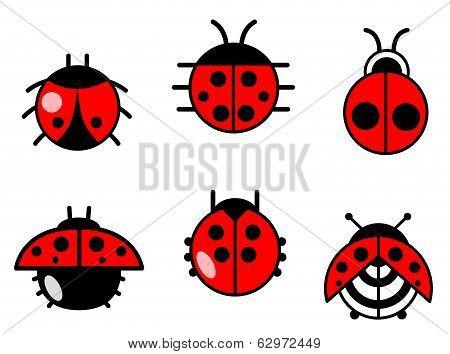 Ladybugs And Beetles Icons Set