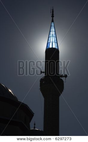 Turkish Mosque At Dusk With Sunlight Behind Turret