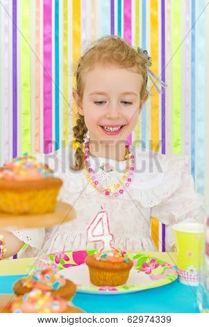 Adorable Little Girl Celebrates Her Birthday.