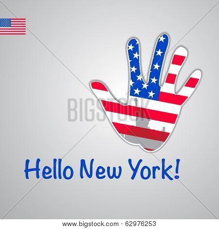 Template - hello New York. Background-hand with the flag of USA and New York's major attraction -Statue of Liberty. Vector