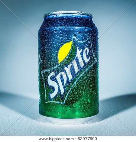 MOSCOW, RUSSIA-APRIL 4, 2014: Can of Coca Cola company soft drink Sprite. It was introduced in the United States in 1961. This was Coke's response to the popularity of 7 Up.