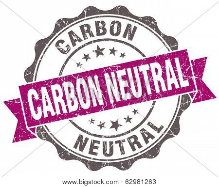 Carbon Neutral Violet Grunge Retro Vintage Isolated Seal