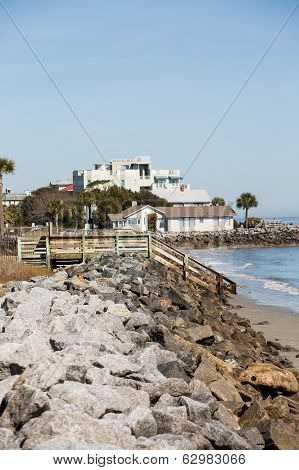Coastal Homes Down Rock Seawall