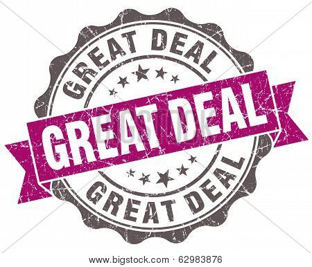 Great Deal Violet Grunge Retro Style Isolated Seal