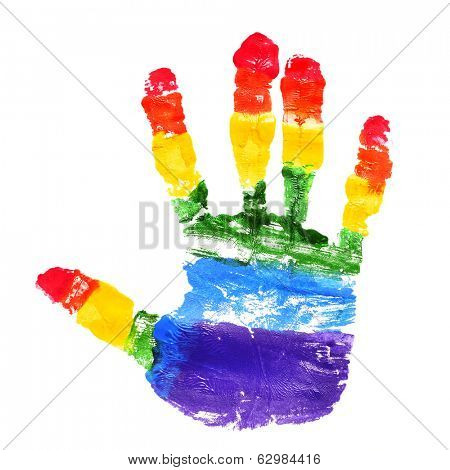 a handprint with the colors of the rainbow flag on a white background