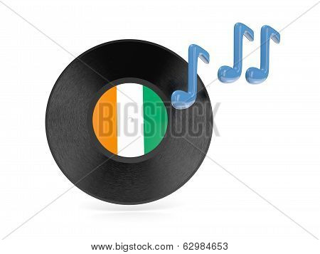 Vinyl Disk With Flag Of Cote D Ivoire