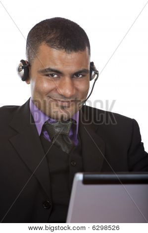 Call Center Operator With Headset Express Happiness