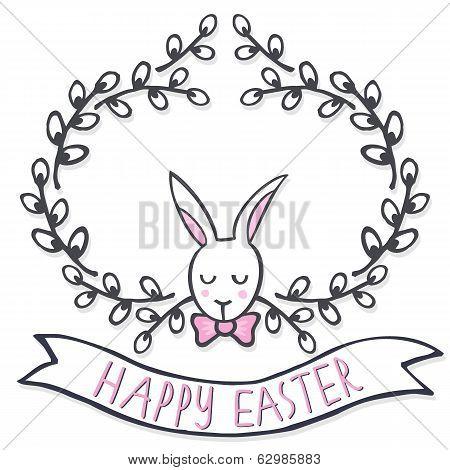 White elegant bunny in willow wreath Easter card on white