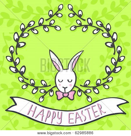 White elegant bunny in willow wreath Easter card on green