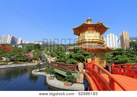 HONG KONG ISLAND, CHINA - JANUARY 1 : Nan Lian Golden Pavilion of Absolute Perfection at Nan Lian Garden, in Diamond Hill, Hong Kong on January 1, 2014.
