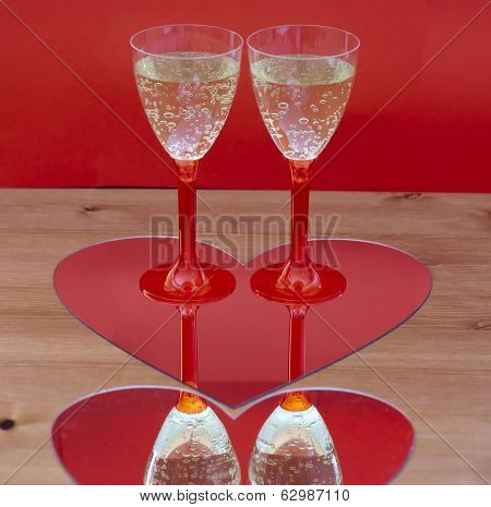 Champagne Glasses In Heart