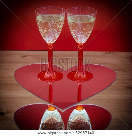 Valentine Champagne Glasses In Heart