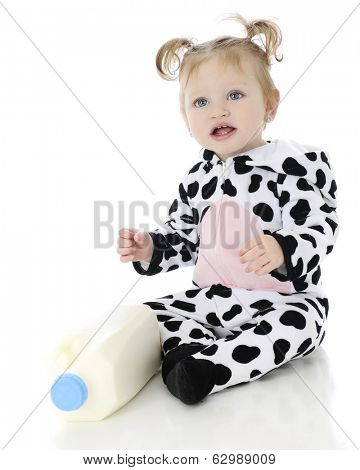 An adorable baby girl happy in her holstein cow costume, sitting by a bottle of milk.  On a white background.