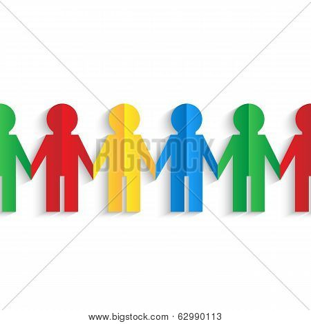Colorful Men Of Color Paper Isolated On White Background