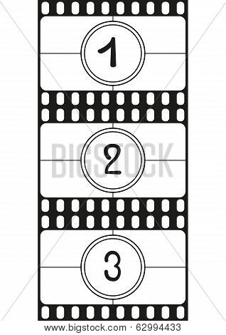 Film countdown numbers hand drawing digits vector illustration part 1