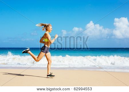 Athletic Woman Running on the Beach. Female Runner Jogging. Outdoor Workout.