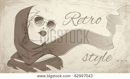 Beautiful retro woman portrait wearing kerchief