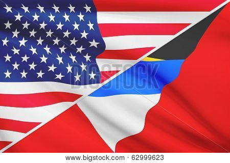Series Of Ruffled Flags. Usa And Antigua And Barbuda.