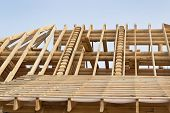 pic of rafters  - Fragment of the roof timbered houses built on the wasteland - JPG