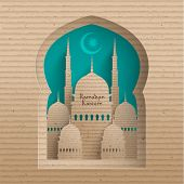 stock photo of hari  - Vector 3D Cardboard Mosque - JPG