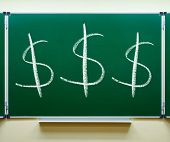 picture of cursive  - dollar currency signs on the chalkboard - JPG