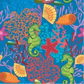 Seamless Nautical Pattern On Blue Background With Sea Horses, Fishes, Sea Stars,  Shells, Coral Reef