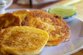 foto of french toast  - French Toast On Dish With Lemon set menu - JPG