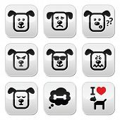 foto of mongrel dog  - Vector buttons set of cute dog character expressing anger - JPG