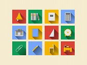 Flat icons for school supplies