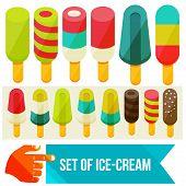 stock photo of ice cream parlor  - set of ice cream flat vector illustration - JPG