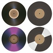 Vector Vinyl records collection isolated on white