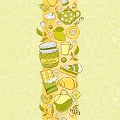 Vector seamless vertical border with tea elements