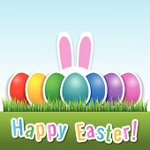 stock photo of bunny ears  - Happy Easter card with eggs and bunny ears - JPG