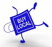stock photo of local shop  - Handstand Buy Local Shopping Bag Showing Buying Nearby Trade - JPG