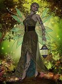 stock photo of fairyland  - A fairy with iridescent wings carries a lantern through the magical forest - JPG
