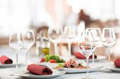 stock photo of banquet  - Banquet setting table in restaurant - JPG