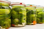 picture of pickled vegetables  - Cucumbers pickled isolated on the white background - JPG