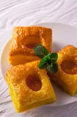 Cake of puff pastry with fresh mint