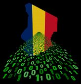 stock photo of chad  - Chad map flag with binary foreground illustration - JPG