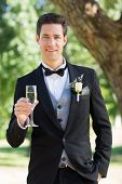 Portrait of sophisticated groom holding champagne flute in garden