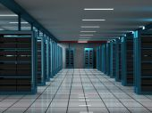 stock photo of intranet  - Hosting and Server room on a data center - JPG