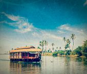 pic of houseboats  - Vintage retro hipster style travel image of travel tourism Kerala background  - JPG