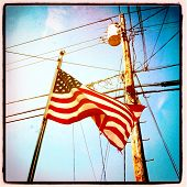 stock photo of utility pole  - Instagram style image of an American Flag and utility pole - JPG