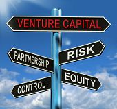 Venture Capital Signpost Shows Partnership Risk Control And Equity