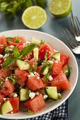 stock photo of watermelon  - Healthy Organic Watermelon Salad with Mint Feta and Cucumber  - JPG