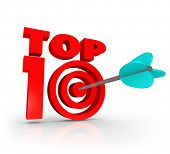stock photo of ten  - Top 10 Words 3D Letters Arrow Bulls - JPG