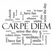 Carpe Diem Word Cloud Concept In Black And White